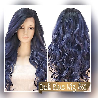 Indi Blue Long Wavy Lace Front Wig
