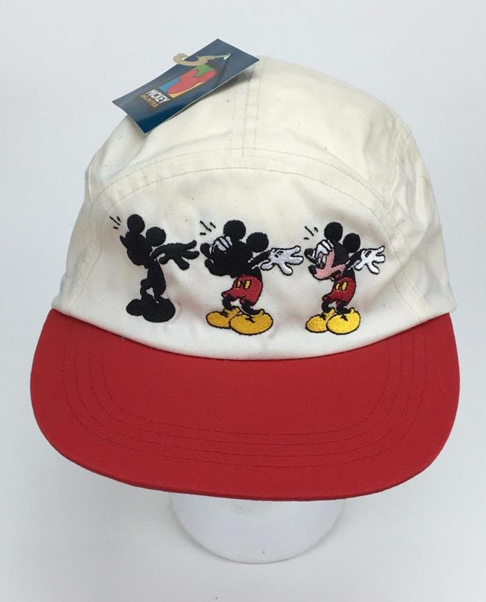 Vtg Mickey Mouse Unlimited Hat Cap Disney Shadow White Red Elastic 5 panel