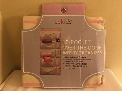 cckids Pink and beige 10-pocket-over-the-door weekly organizer  22