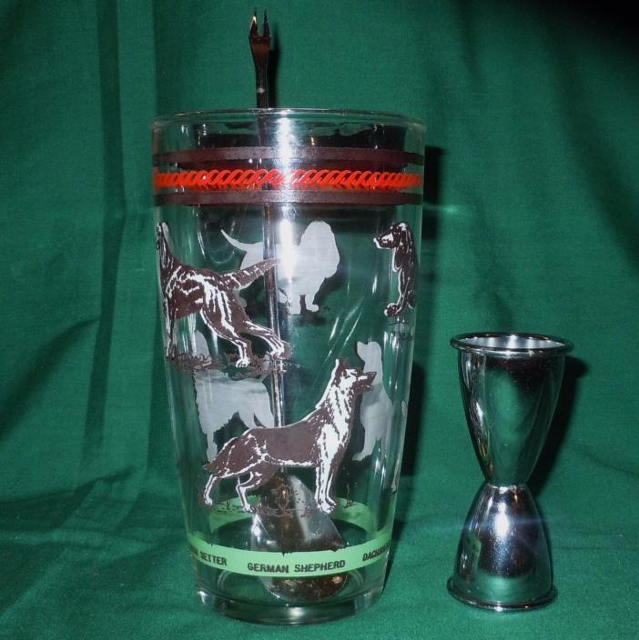Vtg Hazel Atlas *AKC Registered Dogs* Cocktail Shaker Glass 3/pc