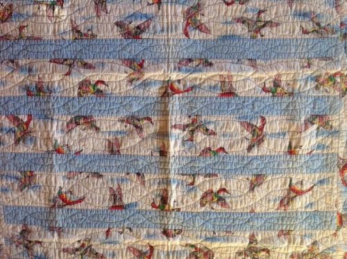 Antique Vintage Flying Geese Baby Quilt. Wonderful Condition.