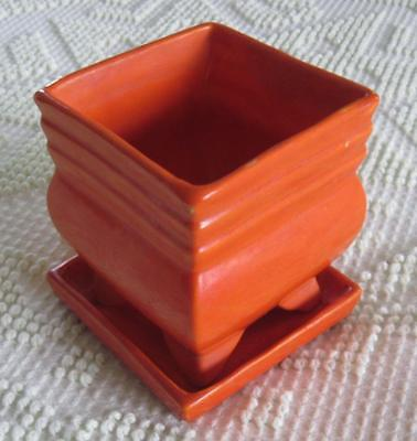 1928-30 Stangl Pottery Square Tangerine Flower Pot and Tray #1200