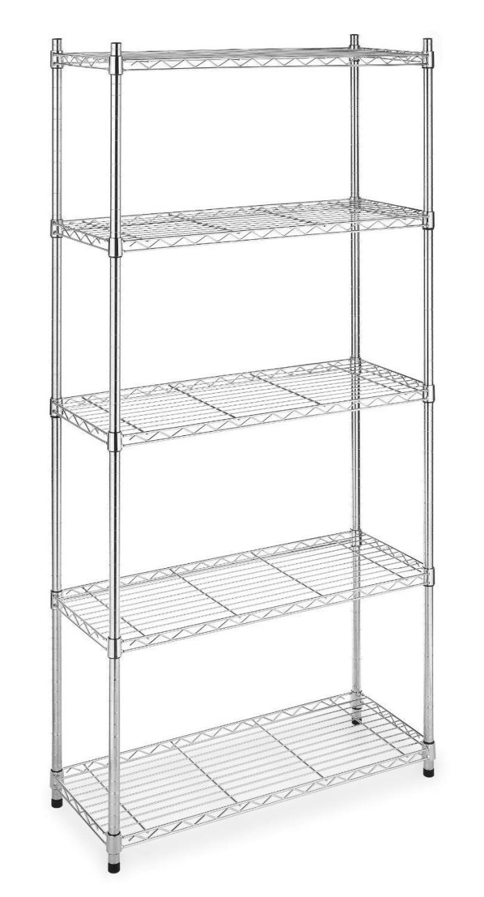 Chrome Steel Storage Rack 5 Layer Wire Tier Shelving 72 X36 X14