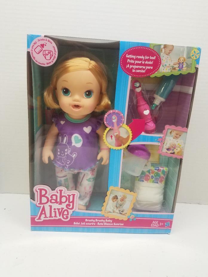 NIB New Baby Alive Brushy Brushy Baby Blonde Bedtime Toothbrush