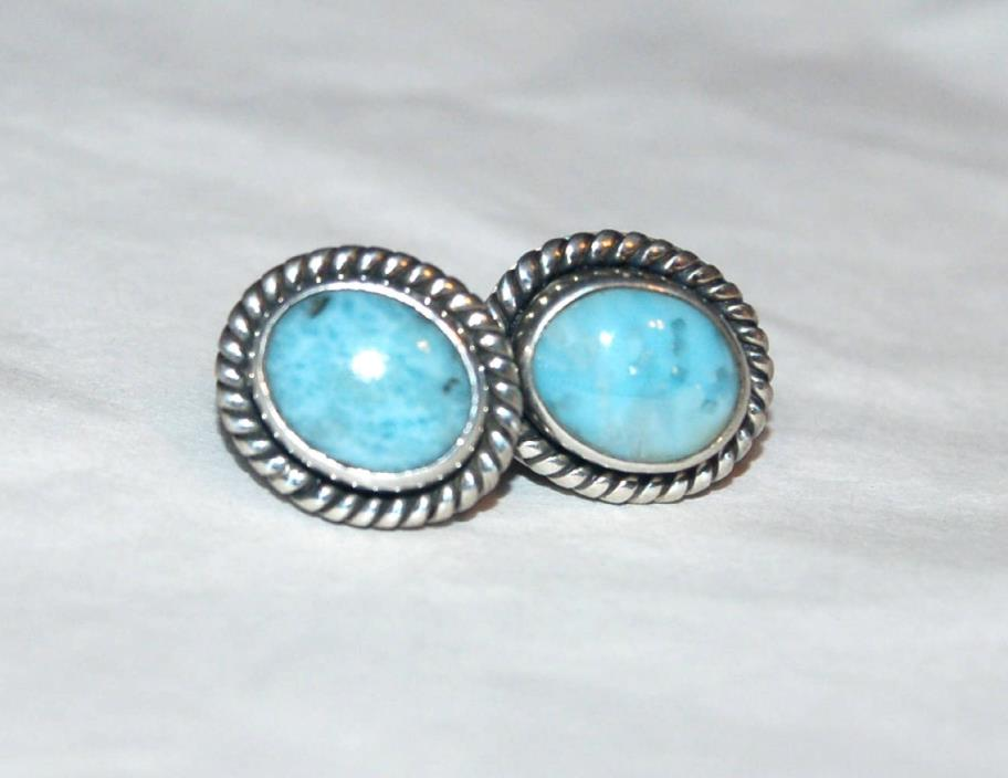 PAIR OF STERLING SILVER/LARIMAR (PECTOLITE) POST EARRINGS - 8902 - 14x12MM