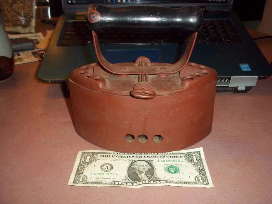 Antique Cast Iron Hot Coal Fired Sad Iron Wood Handle – Vintage Clothes Iron