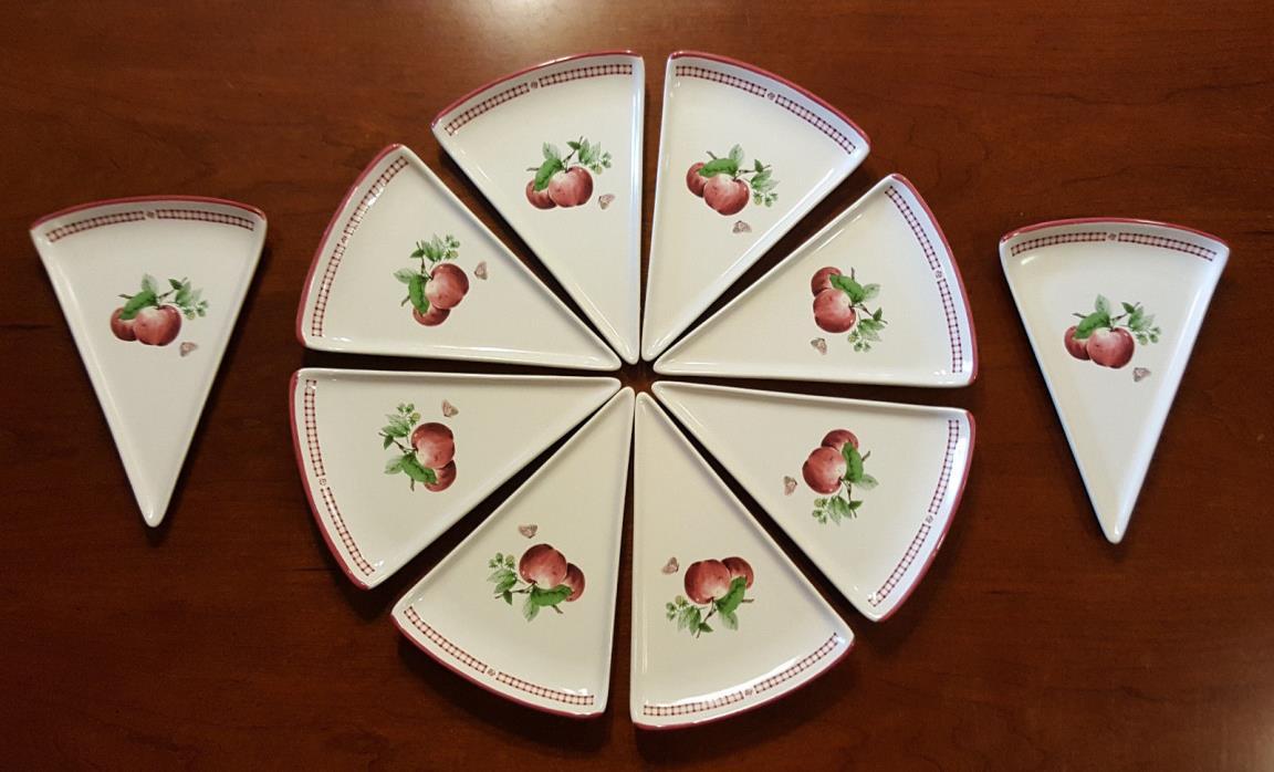 Pfaltzgraff  Delicoius Apple Pizza Pie Slice Pie Plates Lot of 10