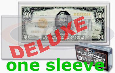 1 pcs US DELUXE Currency Paper Money Bill Semi Rigid Sleeve Regular Holder New