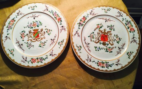 PAIR 19th.c French Samson Plates, Chinese Armorial Style, Flowers, Gilt Rim