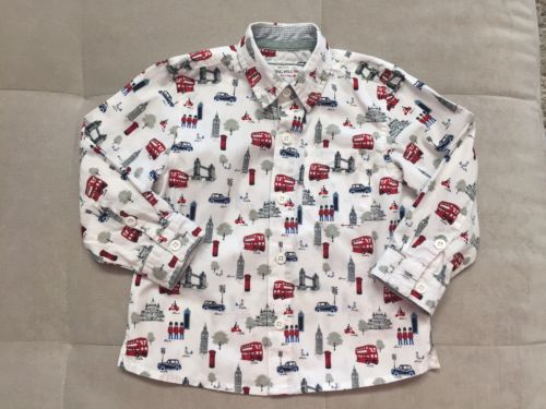 English Nothing Hill Monsoon Boys Dress Shirt Size 2-3 White Red Busses England