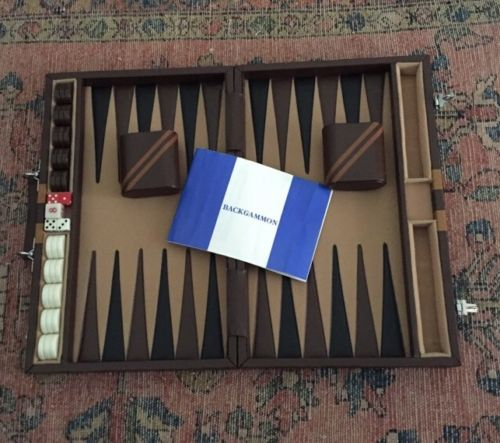 Vintage Backgammon Set With Rules Brown Black Striped Complete 1970's GAME