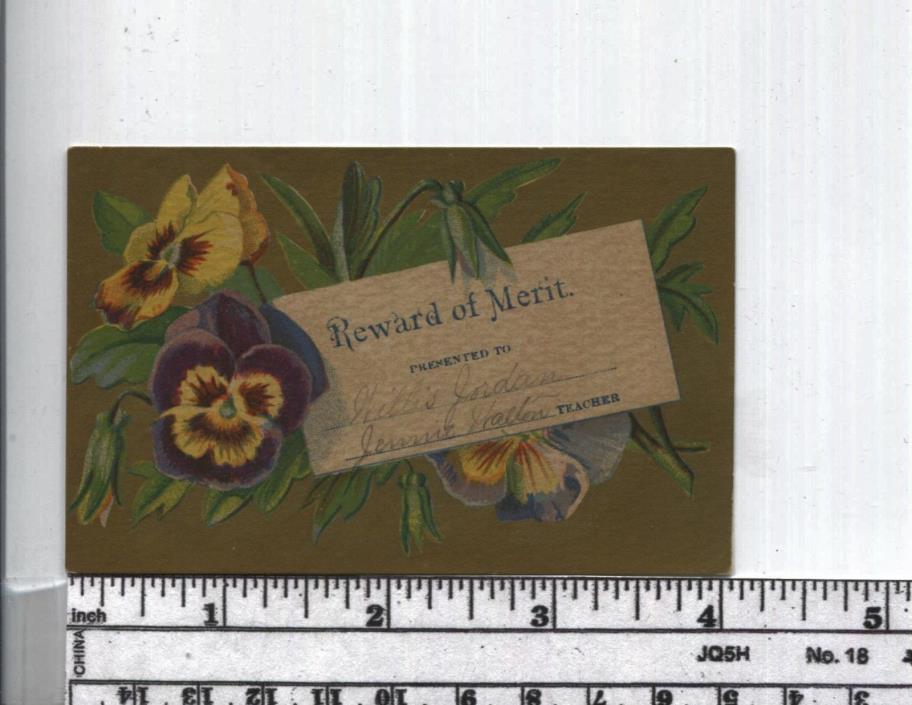 Antique Reward of Merit -  Rare GOLD INK Background - Pansies