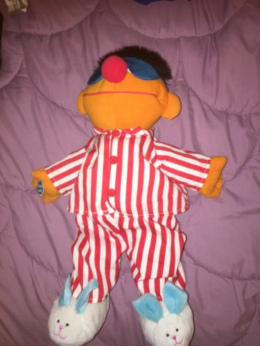 Tyco Sesame Street Ernie in Pajamas and Sleeping Mask Slippers EUC