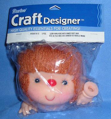 Doll Head (Yarn Hair) and Hands Set-Craft Designer from Darice