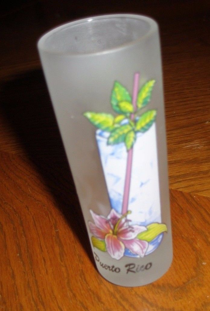 PUERTO RICO  FROSTED SHOT GLASS ~ MOJITO recipe on back ~ 4