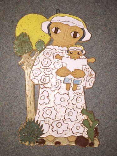 St.ANDREWS Stoneware POTTERY Religious Wall PLAQUE Child SUN Cactus 9x6 NICE