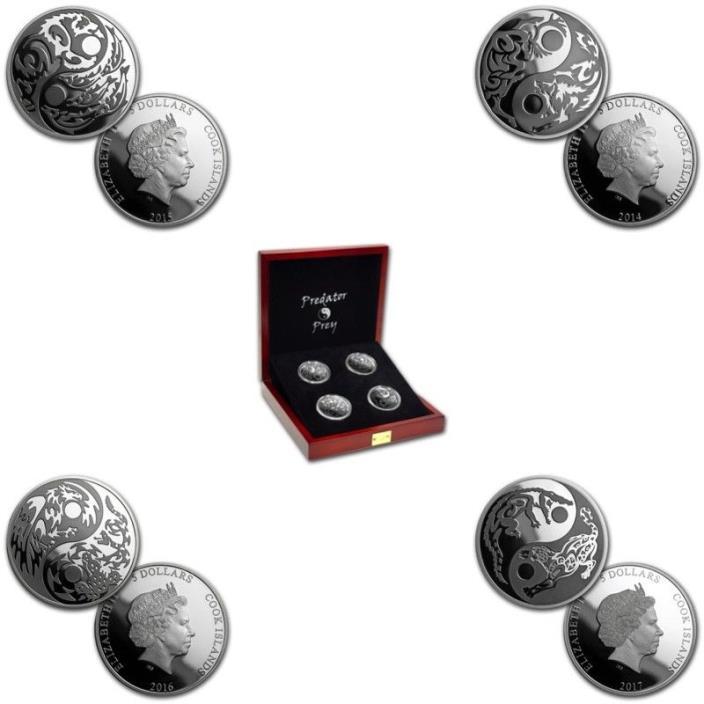 2014, 2015, 2016 2017 PREDATOR PREY .999 1oz Silver Coins 4-coin set match w/box