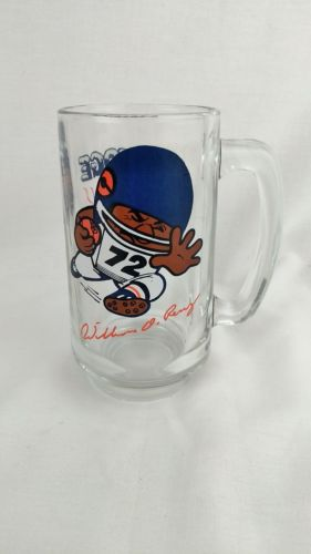 1990's NFL 10oz Glass Beer Mug William The Refrigerator Perry Chicago Bears