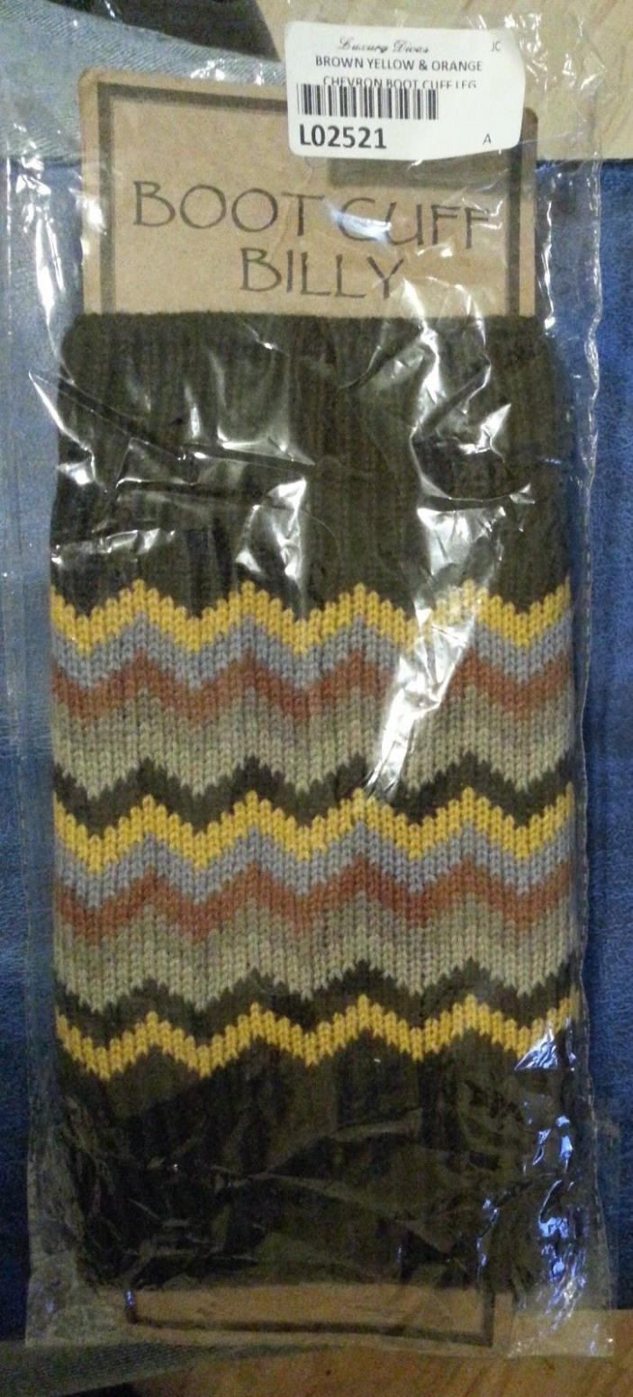 BOOT CUFF BILLY Women's Knit Brown Yellow Orange Brand New Boot Toppers