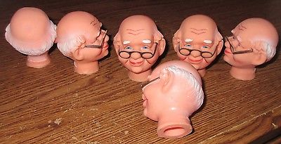 Grandpa DOLL HEAD Old Man Glasses Bald Doll Making 6 pc Grandpa Heads 3