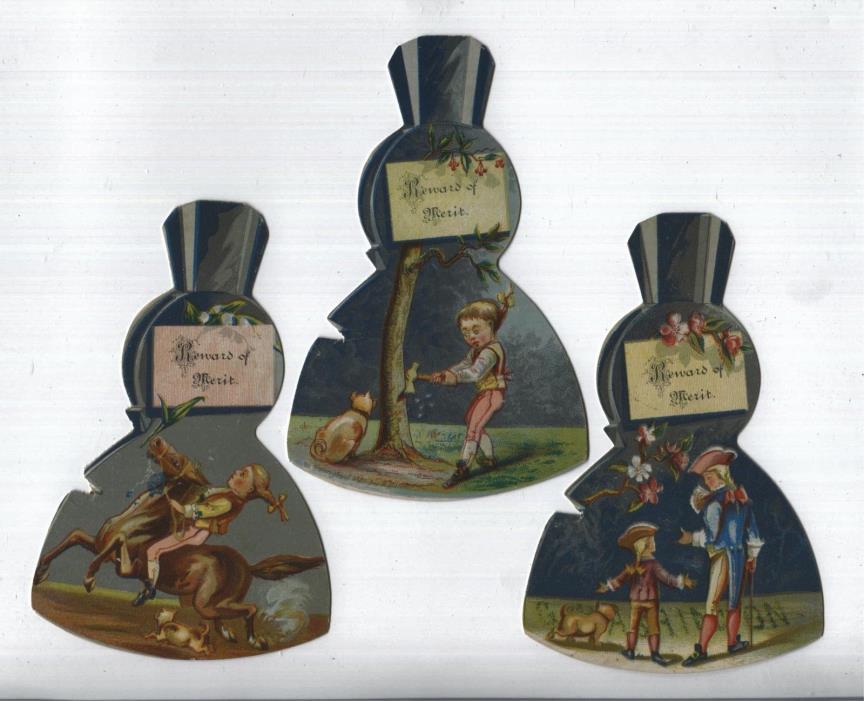 Reward of Merit - Mid 1800s -  Set of (3) George Washington & Cherry Tree - 1881