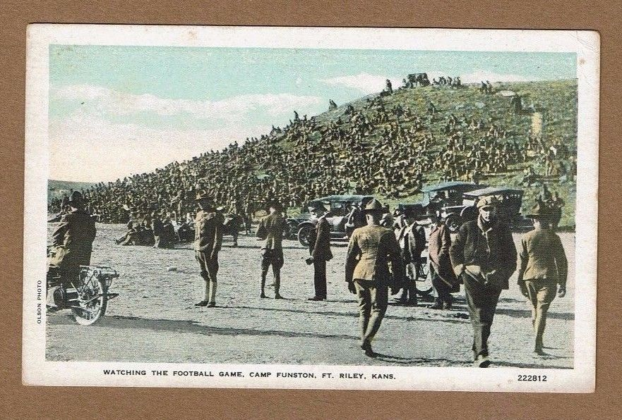 Watching the Football Game, Camp Funston, Ft Riley,KS Kansas #222812