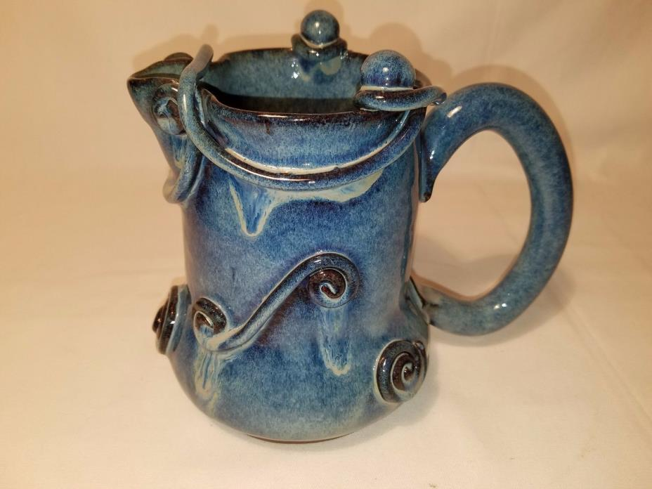 Beautiful Handmade Pottery Pitcher Blue Glaze 6 1/2