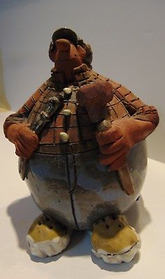SARA MEADOWS - THE PLUMBER - SIGNED CLAY FIGURINE - BALOON PEOPLE