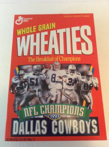 WHOLE GRAIN WHEATIES NFL CHAMPIONS DALLAS COWBOYS 1993 UNOPENED MINT BOX