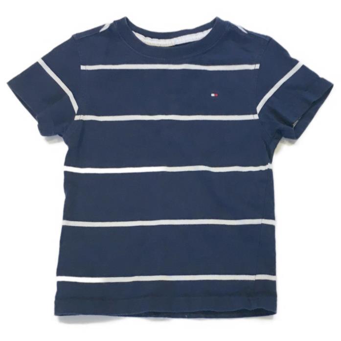 Tommy Hilfiger Boys Size 3T Navy & White Striped T Shirt w Flag Logo
