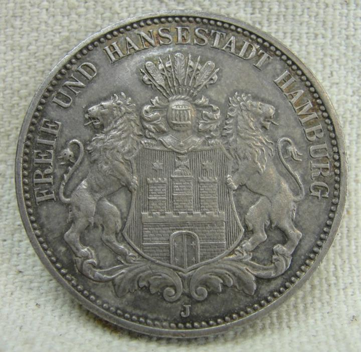 1910J 3 Mark - GERMANY-HAMBURG - Old Silver Coin