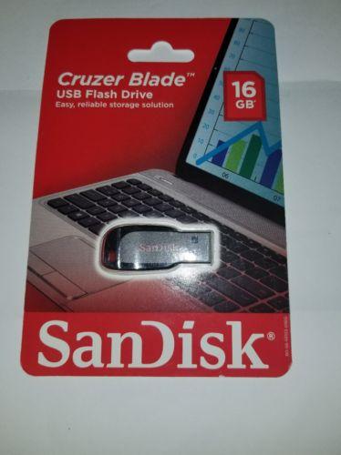 SanDisk Cruzer Blade 16GB USB Flash Drive Black Memory Stick Pen Storage Thumb