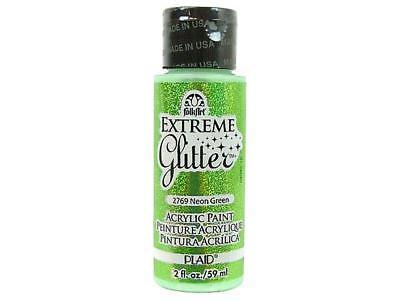 Plaid Folkart Extreme Glitter 2oz Neon Green