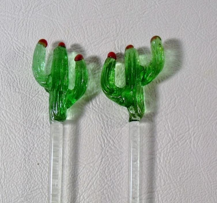 2 Glass Swizzle Sticks CACTUS