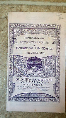1894 SILVER BURDETT BOOKLET - SCHOOL PUBLICATION PRICE LIST CATALOGUE