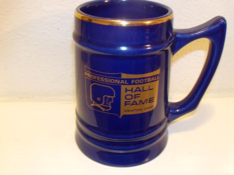 Professional Football Hall of Fame Canton Ohio Blue with Gold Rim Mug/Beer Stein