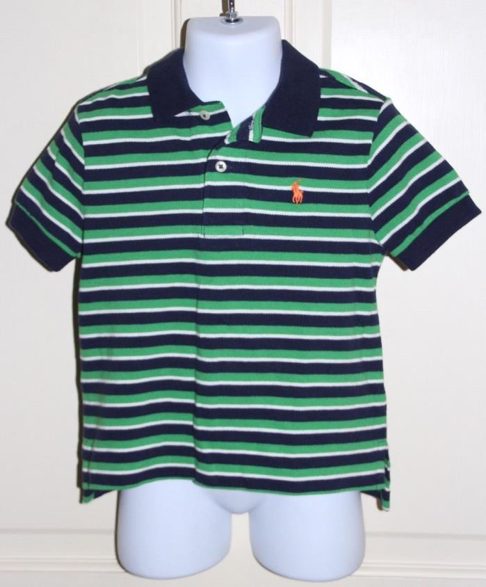 NWT Polo Ralph Lauren Toddler Boys Green/Blue/White Short Sleeve Shirt Sz 2/2T