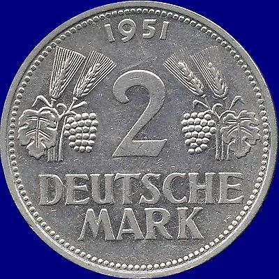 1951 'D' Germany 2 Mark Coin