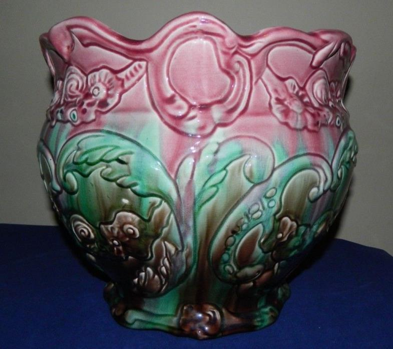 Antique Large Weller Majolica Jardiniere Planter With Floral Fauna Scroll Design