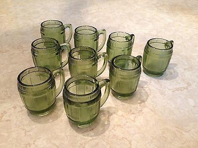 Lot 9 vtg mid-century barware shot glasses barrel w handle toothpick holder mugs