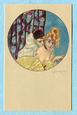 A2407  Postcard Zandrine Circle  Man in Harlequin Costume Kissing Woman in Gold