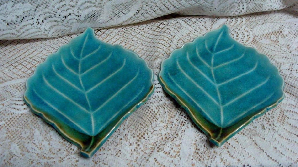 (2) VINTAGE  POTTERY  LEAF DISH WITH GLAZE 9 1/2'' LONG BY 7'' WIDE NICE...