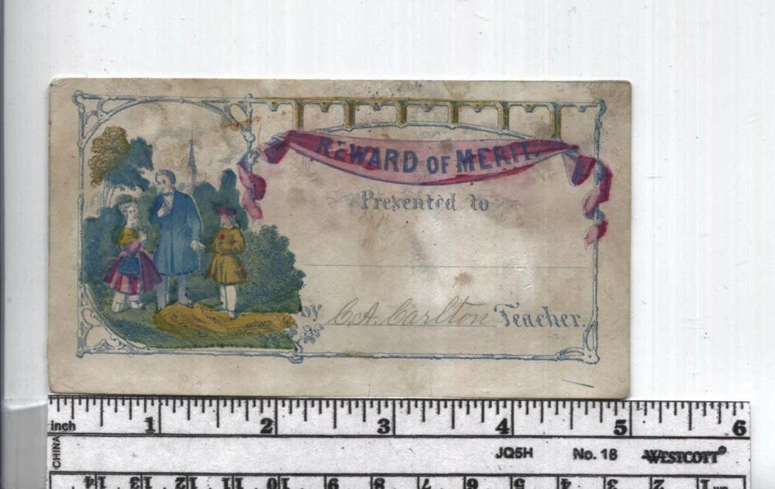 Antique Reward of Merit -  Hand Colored -  Family Group