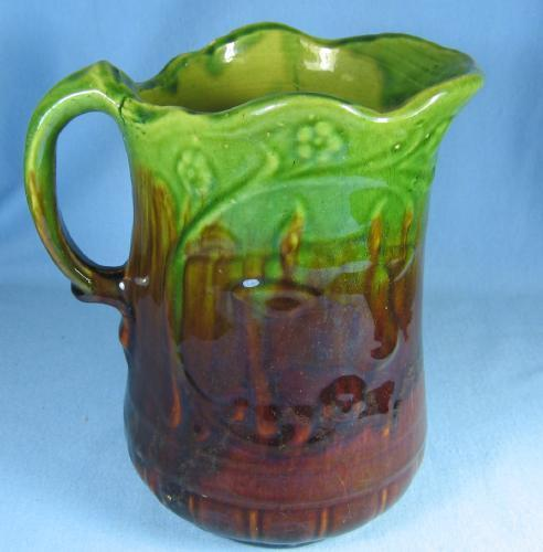 Antique Yellow Ware COW Milk or Water Pitcher ~ Large 7 1/2 inch High