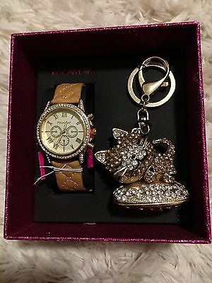 Rocawear Women's Tan Band Watch And Kitty Cat Keychain Set Gold New In Box