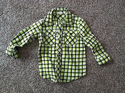 Boys Crazy 8 Lime green plaid long sleeve  Flannel size 3T