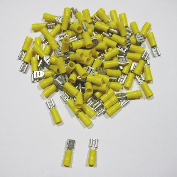 500pcs Vinyl-Insulated Female Disconnect Terminal 4-6mm² 12-10 AWG Yellow