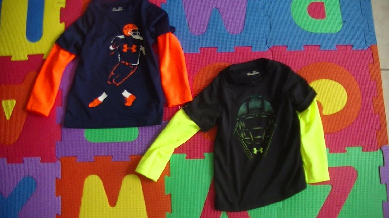 Lot of 2 Boys Under Armour Helmet Slider & Football Figure Long Sleeve Shirt 2t