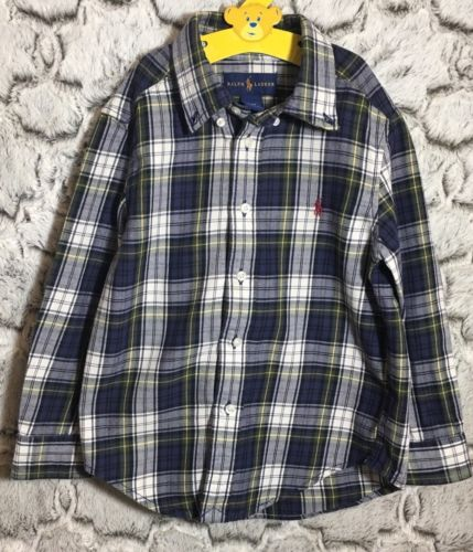 Ralph Lauren Toddler Boy 4/4T Blue Yellow Plaid Long Sleeve Button Down Shirt