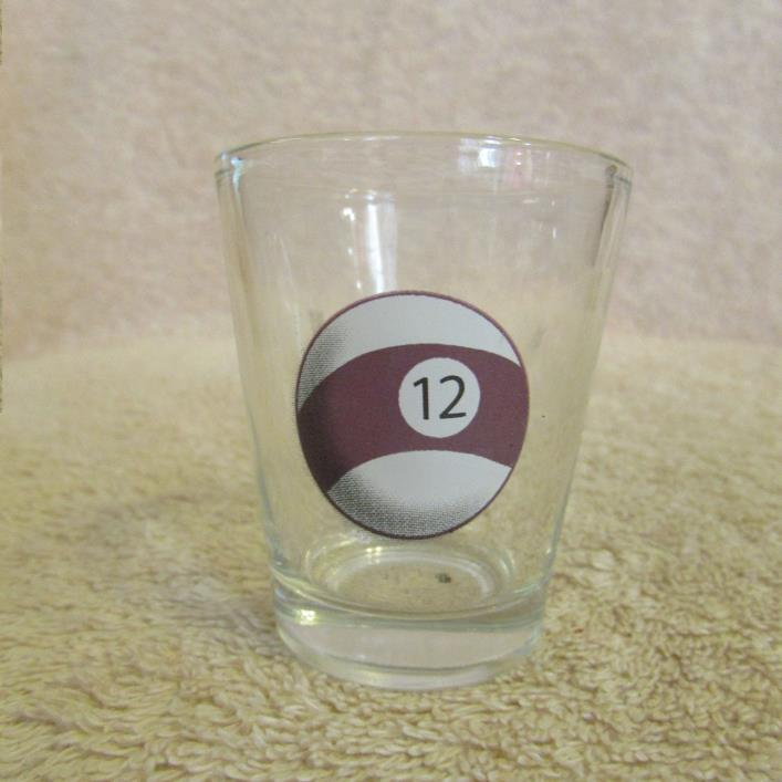 Billiard Pool # 12 Ball Shot Glass CLEAR GLASS